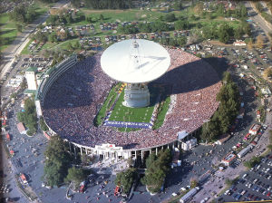 The 70-m DSN antenna placed inside the Rose Bowl for scale – talk about making some noise!