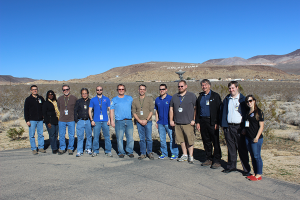 The OSIRIS-REx flight dynamics team got a tour of the Goldstone DSN station. From left to right: Eric Carranza, Felicia Sanders, Ed Beshore, Pete Antresian, Brent Barbee, Dale Stanbridge, Dante Lauretta, Kenny Getzandanner, Kevin Berry, Bobby Williams, Joel Fischetti, and Coralie Jackman.