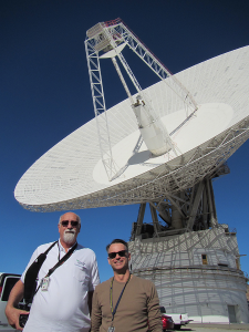 Al Hewitt and I standing in front of the MARS 70-m DSN antenna at Goldstone. Al is the Network Operations Engineer (NOPE) for OSIRIS-REx.