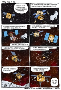 This comic shows the synergy between all international asteroid missions