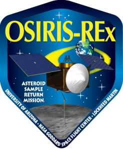 Sometimes the artists get it wrong. This version of the OSIRIS-REx logo shows the solar arrays gimbaled into an impossible configuration.