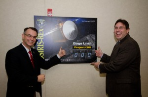 Rich Kuhns, OSIRIS-REx Flight System Manager at Lockheed Martin, and I celebrated the start of CDR by updating the countdown clock.