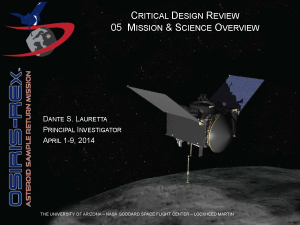 I started the CDR with an overview of the science objectives and overall mission plan.