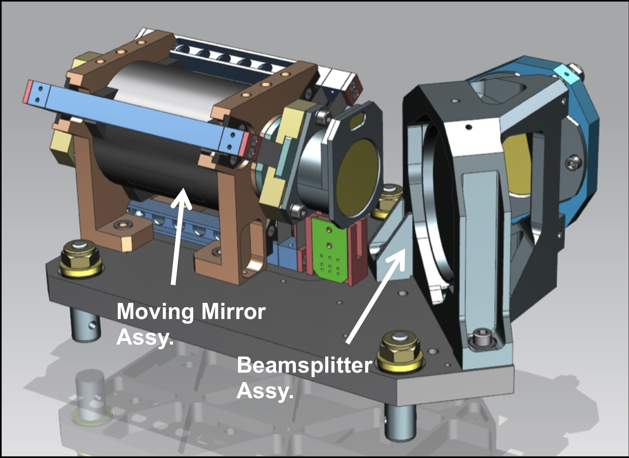 Drawing showing the relative positions of the beamsplitter and moving mirror assemblies (i.e., the interferometer)