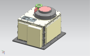 A CAD model of the completed OLA scanning unit. The main receiver window has a cover in this picture.  It is red to make sure it is removed before launch! (image credit: MDA)