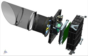 """Exploded"" view of the OTES instrument.  From left to right are the sunshade, the telescope, the aft optics plate (the moving mirror assembly is at top, and the beamsplitter is the greenish circle), the electronics board (green card), and the instrument enclosure (with triangular flexure mounts for attaching OTES to the spacecraft)"