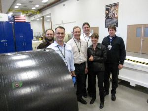 Members of OSIRIS-REx toured the Lockheed Martin Composites lab to see the spacecraft structure being fabricated.