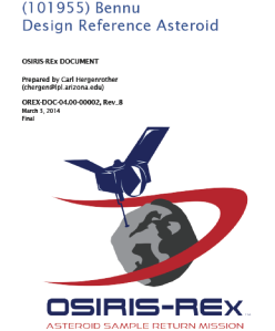 The Cover Page of the OSIRIS-REx DRA. This document is a central reference for many members of the team.