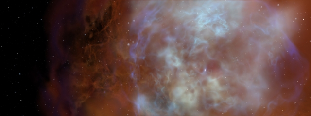 Dust grains from supernova and other dead stars accrete mantles of ice and organics inside giant molecular clouds.