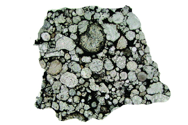 The most primitive meteorites are comprised of millimeter-size chondrules embedded in a matrix of fine-grained dust. Image shows the Semarkona meteorite with a field of view of 1.5 cm.