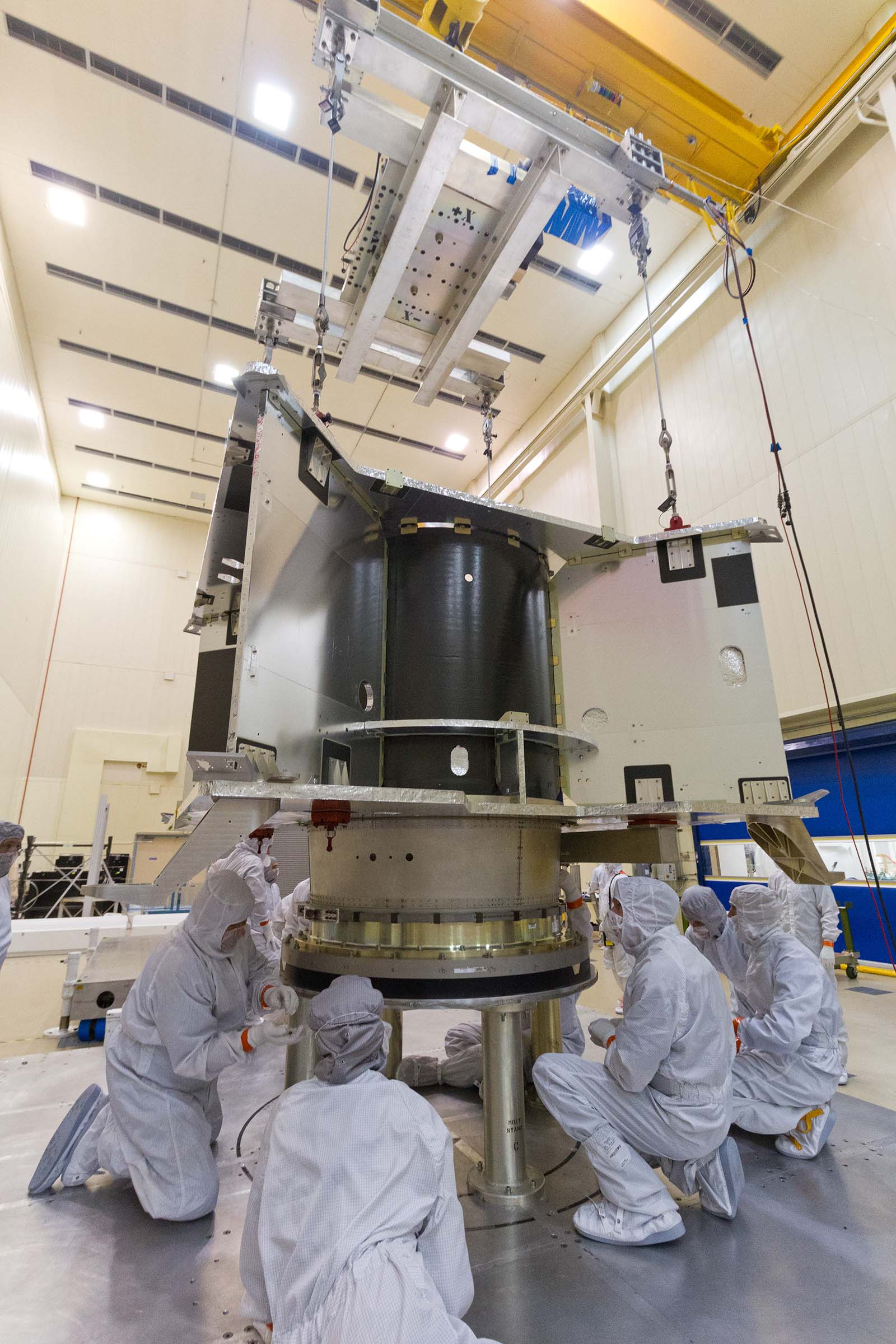 Completion of the OSIRIS-REx main propellant tank integration with the spacecraft structure.