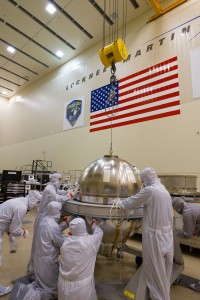 This photo shows the large hydrazine propellant tank prior to integration with the core structure of the OSIRIS-REx spacecraft at a Lockheed Martin clean room near Denver.