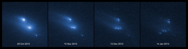 This series of images shows the asteroid P/2013 R3 breaking apart, as viewed by the NASA/ESA Hubble Space Telescope in 2013.