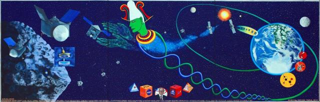 The OSIRIS-REx mural now graces the west wall of the Michael J. Drake building at the University of Arizona.