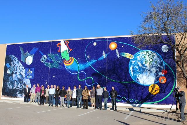 The OSIRIS-REx mural team gathered on January 22, 2015 to formally unveil the artwork.