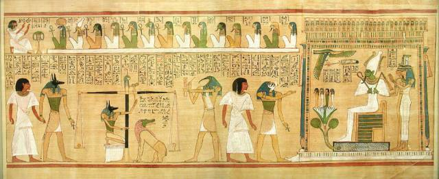 Judgment scene from the Book of the Dead. The dead man (Hunefer) is presented by the falcon-headed Horus to Osiris, seated in his shrine with Isis and Nephthys. (British Museum)