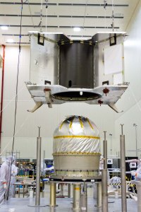 The main propellant tank for OSIRIS-REx was installed in December 2014.