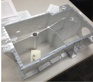 The bare aluminum OVIRS optics box prior to coating.  This whole assembly is machined from a single piece of aluminum.