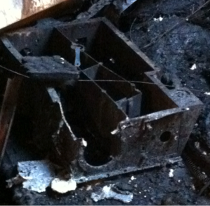 The same OVIRS optics box after the fire.
