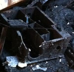The same OVIRS optics box after the fire.