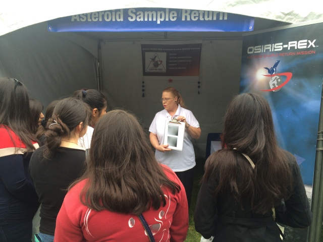 OSIRIS-REx team member Dolores Hill educates people about our exciting sample-return mission.