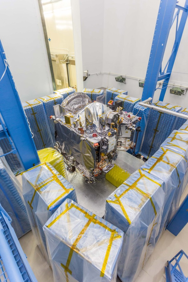 Testing for electromagnetic interference/electromagnetic compatibility (EMI/EMC) testing on the OSIRIS-REx spacecraft at Lockheed Martin.